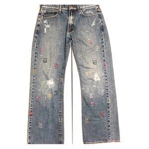 Custom 1 of 1 Metal Barred Vintage Guess Jeans